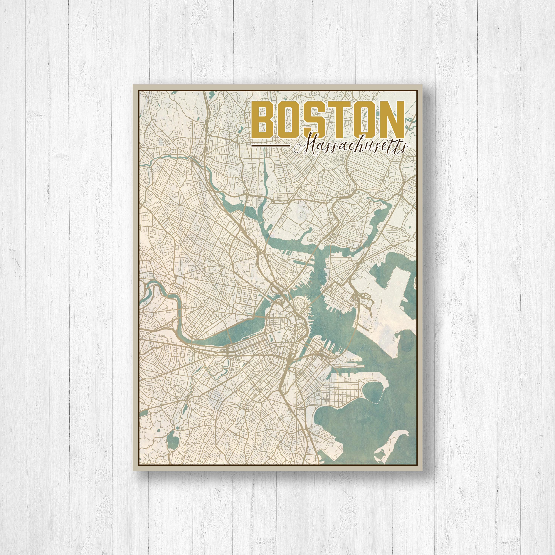 Boston Massachusetts Boston City Map Map Of Boston Map Print