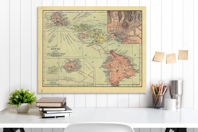 Hawaii State Map, Hawaii Map Canvas, Antiqued Hawaii Map, Canvas ...