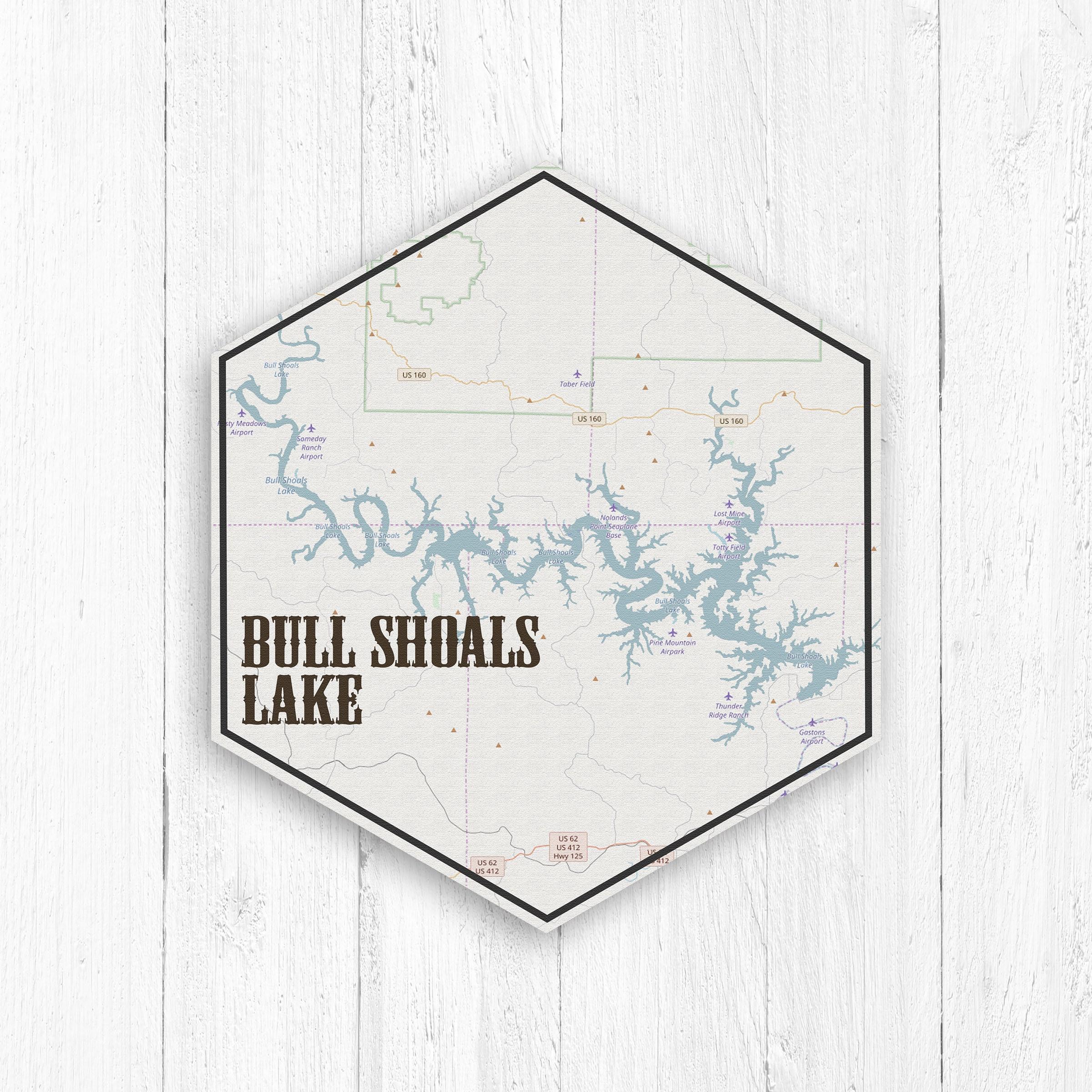 Bull Shoals Lake Hexagon Canvas, Bull Shoals Lake Map Print ...
