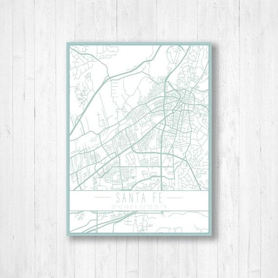 Santa Fe, New Mexico, City Map, Street Map, Map Print, Santa Fe Map, Santa  Fe City Map, Home Decor, Canvas Map Print, Vintage Street Map