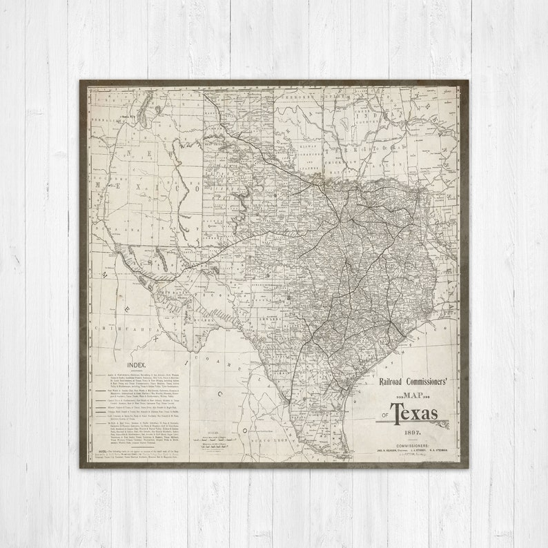 Map of Texas Texas Canvas Map Texas State Map Antique Texas | Etsy