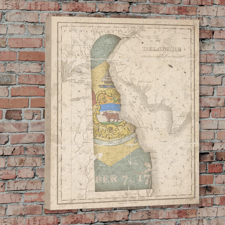 Delaware Delaware State Map Delaware Flag Vintage Flag Delaware - Vintage sf map