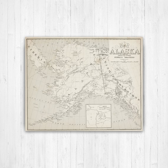 picture regarding Printable Maps of Alaska called Alaska Place Map, Map of Alaska, Alaska Map Canvas, Antiqued Alaska Map, Alaska Wall Decor, Map of Alaska Canvas, Alaska Map Print, Alaskan