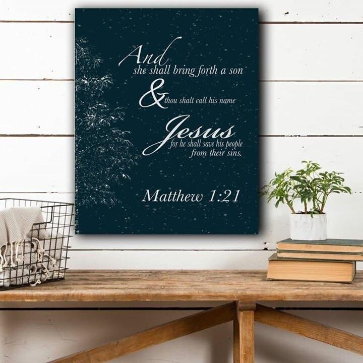 Winter Canvas Wall Decor, Bible Verse Canvas, Matthew 1, Christian ...