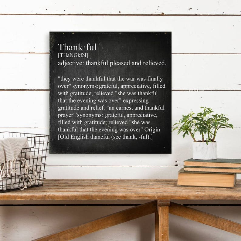 Thankful Definition, Word Definition, Dictionary Word Art, Dictionary Word,  Wall Art, Wall Decor, Chalkboard Word Art, Chalkboard Word Decor
