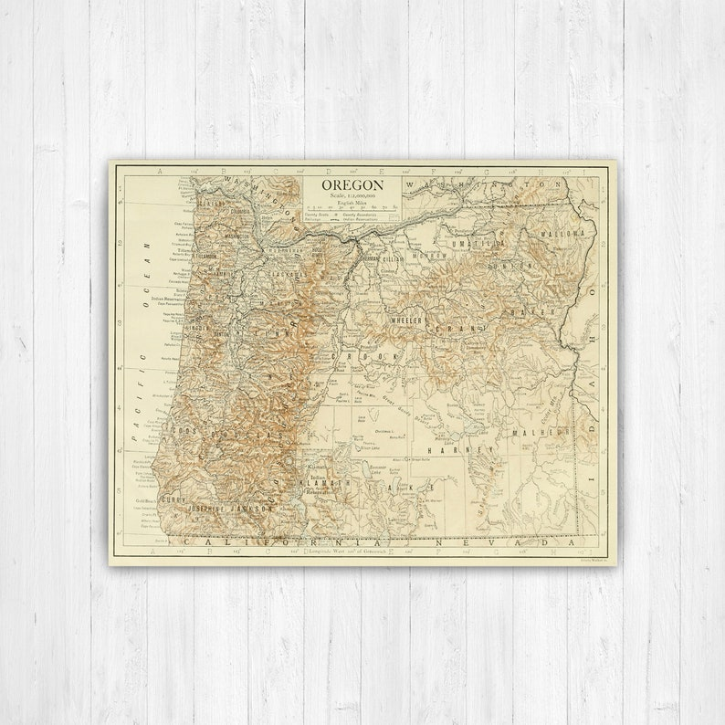 Oregon State Map, Oregon Map Canvas, Antiqued Oregon Map, Canvas Wall  Decor, Oregon Wall Decor, Map of Oregon Canvas