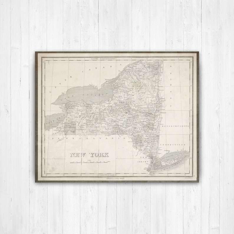 State Of New York Map.Map Of New York New York State Map New York Map Canvas Etsy