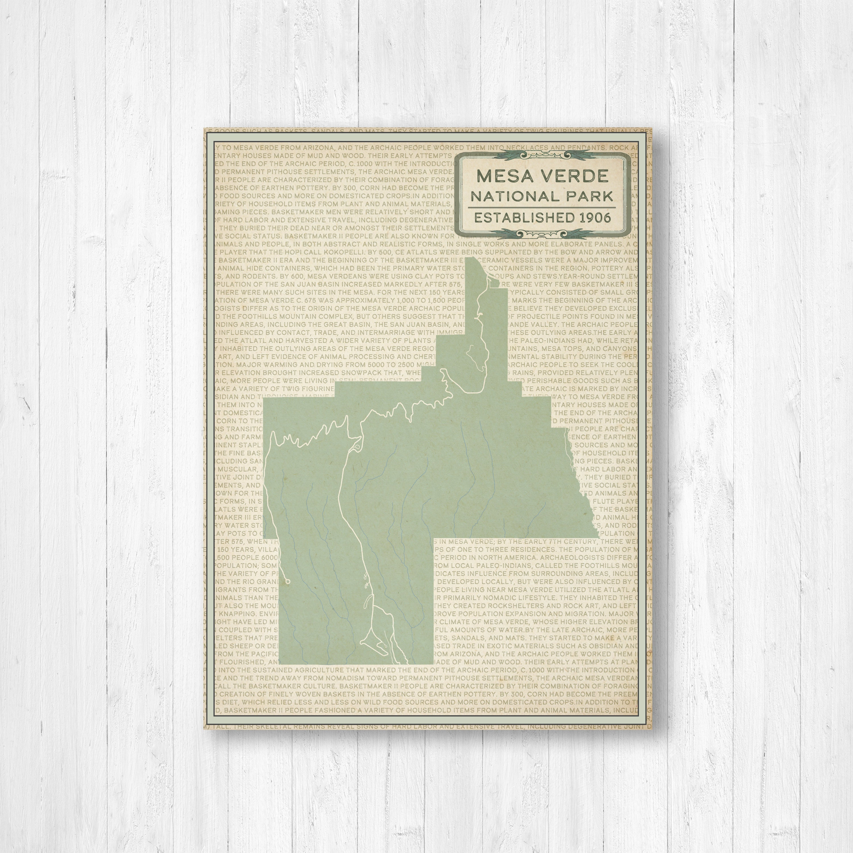 Mesa Verde National Park Map Print, Weathered Mesa Verde National ...