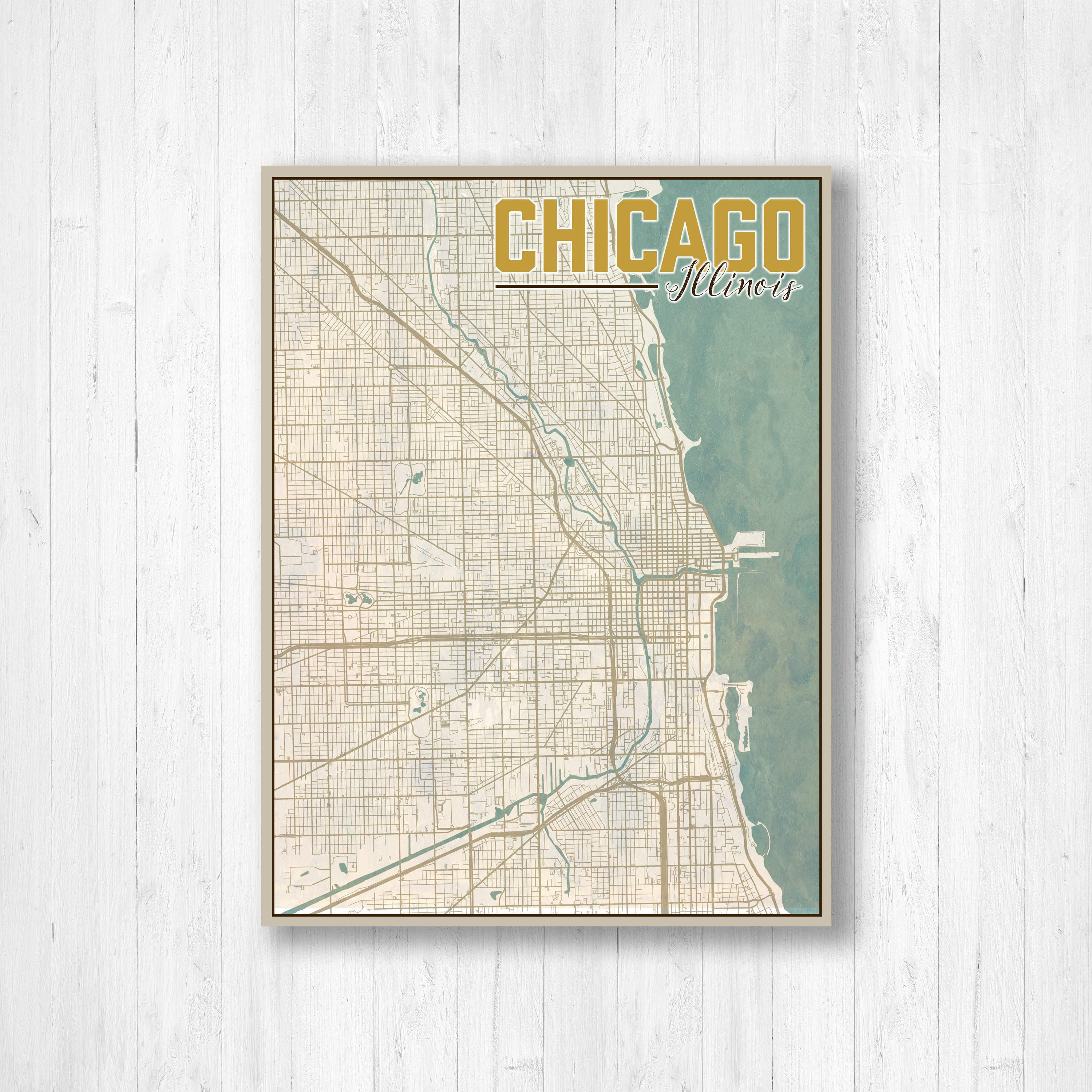 Illinois Chicago Map.Chicago Illinois Chicago City Map Map Of Chicago Map Print