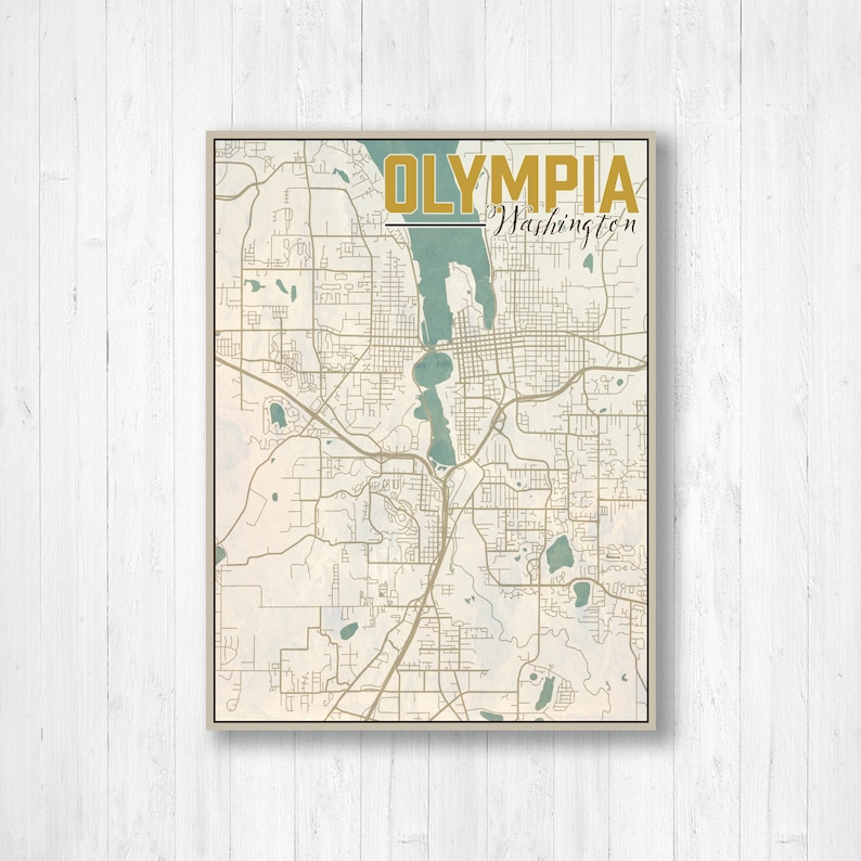 Olympia Washington Olympia City Map Map of Olympia Map | Etsy