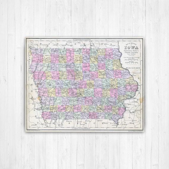 Iowa State Map, Iowa Map Canvas, Antiqued Iowa Map, Custom Canvas Map,  State Map Canvas, Canvas Wall Decor, Iowa Wall Decor, Map of Iowa