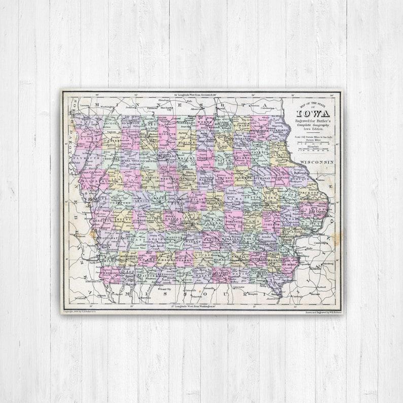 Iowa State Map Iowa Map Canvas Antiqued Iowa Map Custom | Etsy