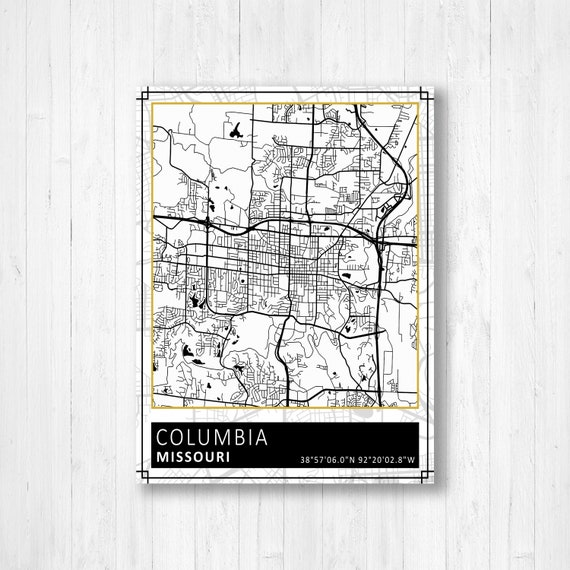 Columbia Missouri Street Map Print Columbia Street Map Street Map Of Columbia Missouri Columbia Black And White Map City Street Map