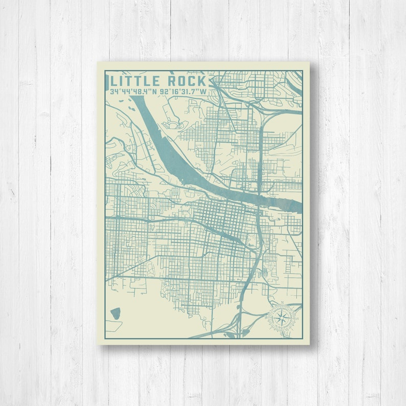 Little Rock, Arkansas, City Map, Map Print, Little Rock Map, Little Rock  City Map, Wall Art, Canvas Map Print, Vintage Street Map,Street Map