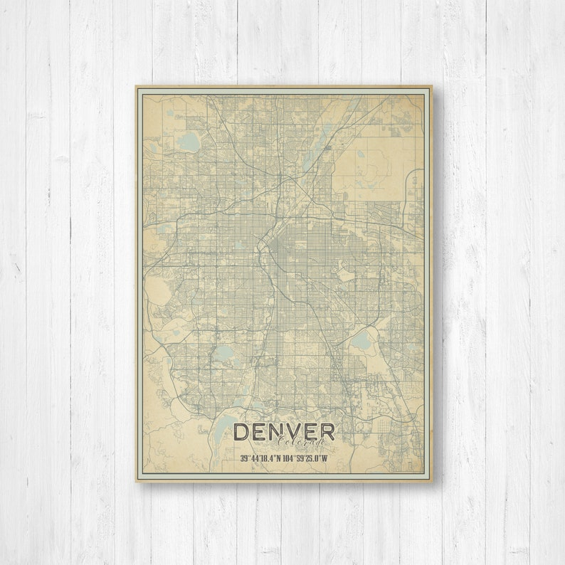 Denver Colorado Street Map Print Denver Print Denver Poster | Etsy