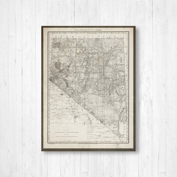 Nevada State Map, Map of Nevada, Antique Nevada Map, Nevada Wall Decor,  Nevada Gift, Brown and White Map, Canvas Map, Nevada Map Print, Art