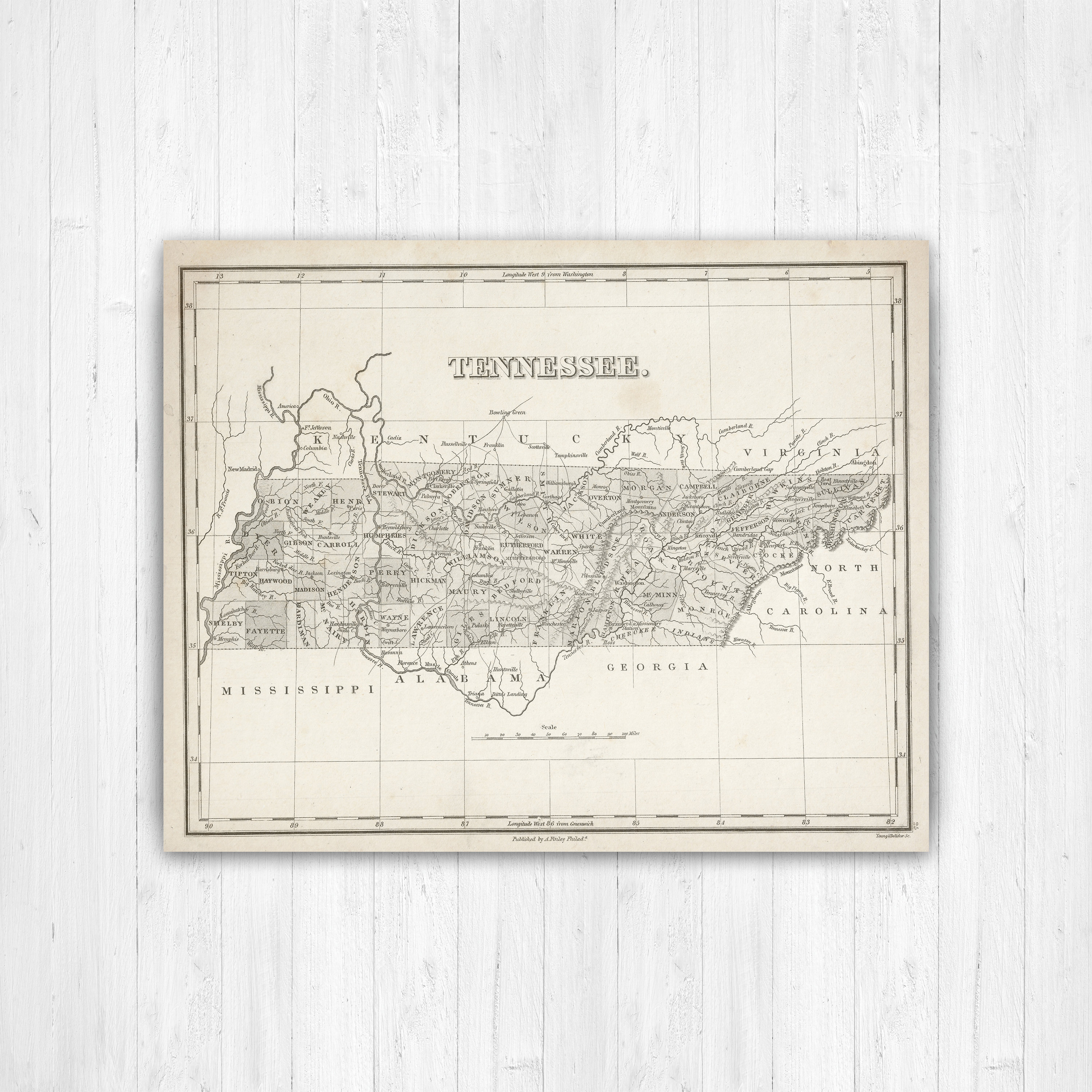 Map of Tennessee Tennessee State Map Tennessee Canvas Map | Etsy