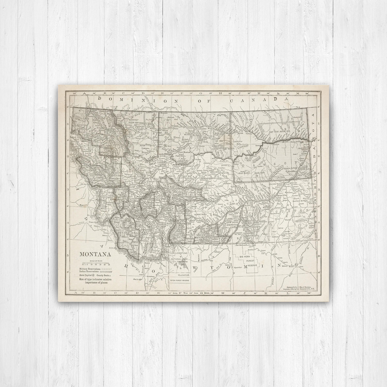 Map of Montana, Montana State Map, Montana Map Canvas, Antique ...