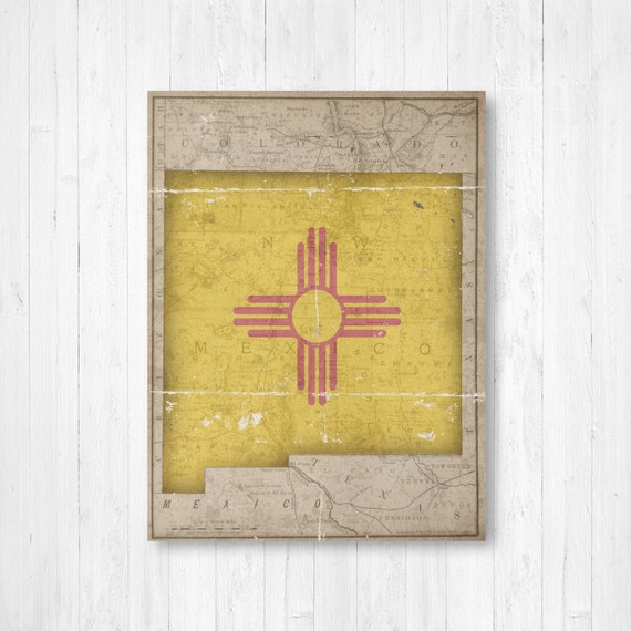 New Mexico Vintage State Flag Map Print New Mexico Hanging Etsy