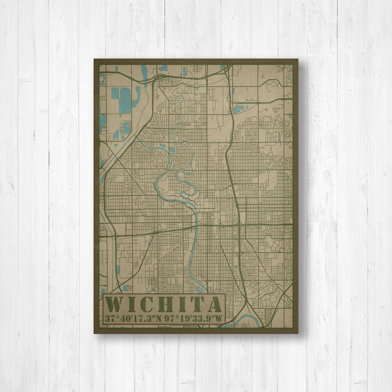 Wichita Kansas City Street Map Wichita Kansas Map Print Map Of
