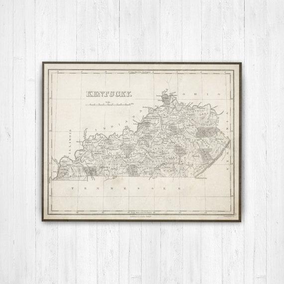 Map of Kentucky, Kentucky on Map, US Map, Kentucky Canvas Map, Vintage  Kentucky Map, Kentucky Map Print, Antique Kentucky Map, Kentucky Map