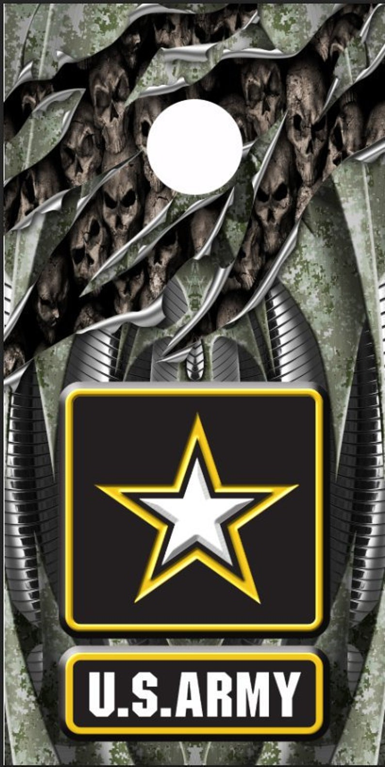 Army Skull Rip LAMINATED Cornhole Wrap Bag Toss Decal Baggo Skin Sticker Wraps