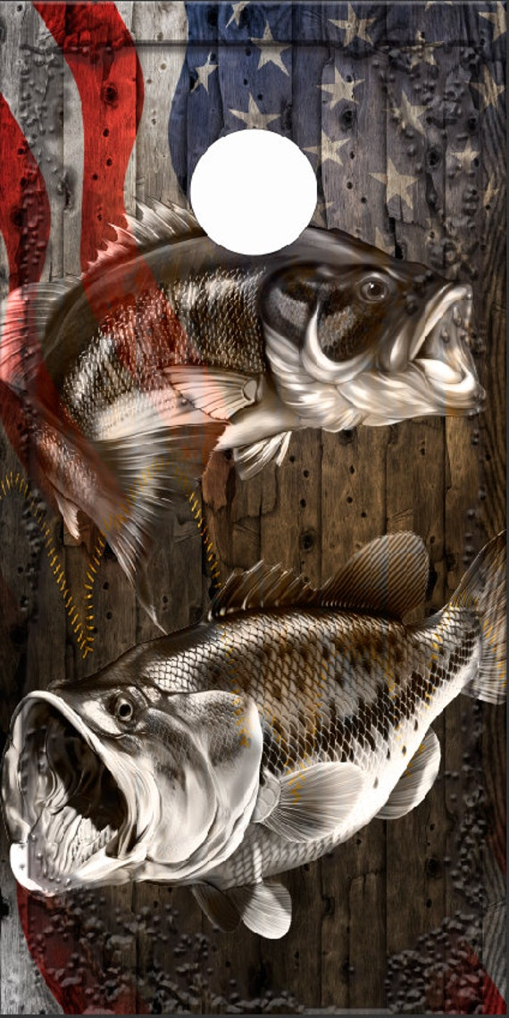 Fishing Angler Cornhole Wrap Bag Toss Decal Baggo Skin Sticker Wraps