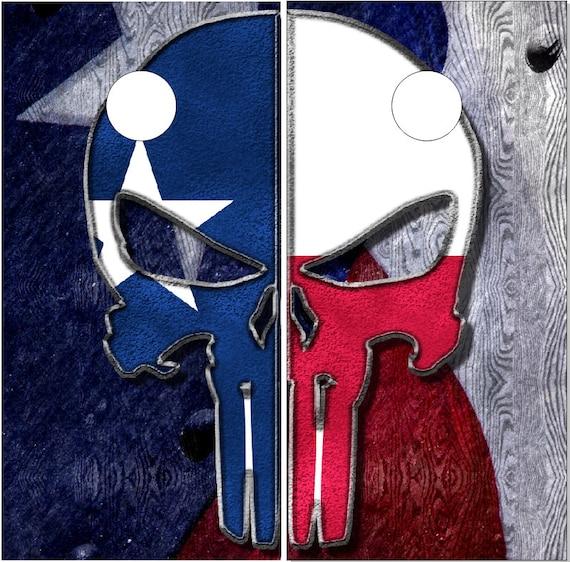 Texas Flag Wood Skull LAMINATED Cornhole Wrap Bag Toss Decal Baggo Skin Sticker Wraps