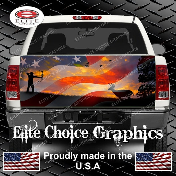 AMERICAN FLAG BUCK SKULL PINK TALLGRASS CAMO Rear Window Graphic Decal Tint SUV