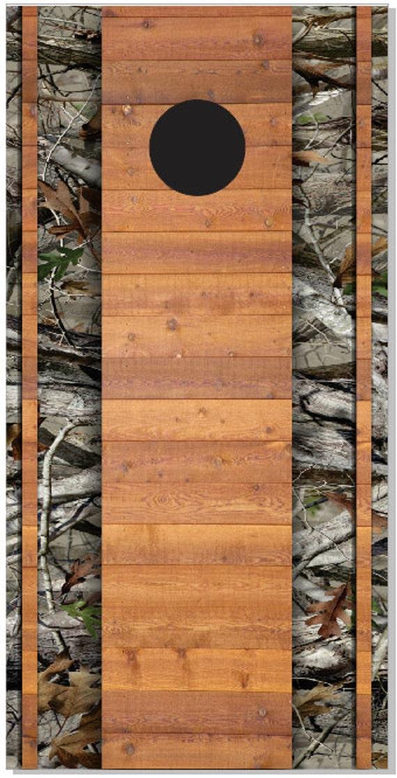 Duck Hunting Wood Plank Camo LAMINATED Cornhole Wrap Bag Toss Decal Baggo Skin Sticker Wraps