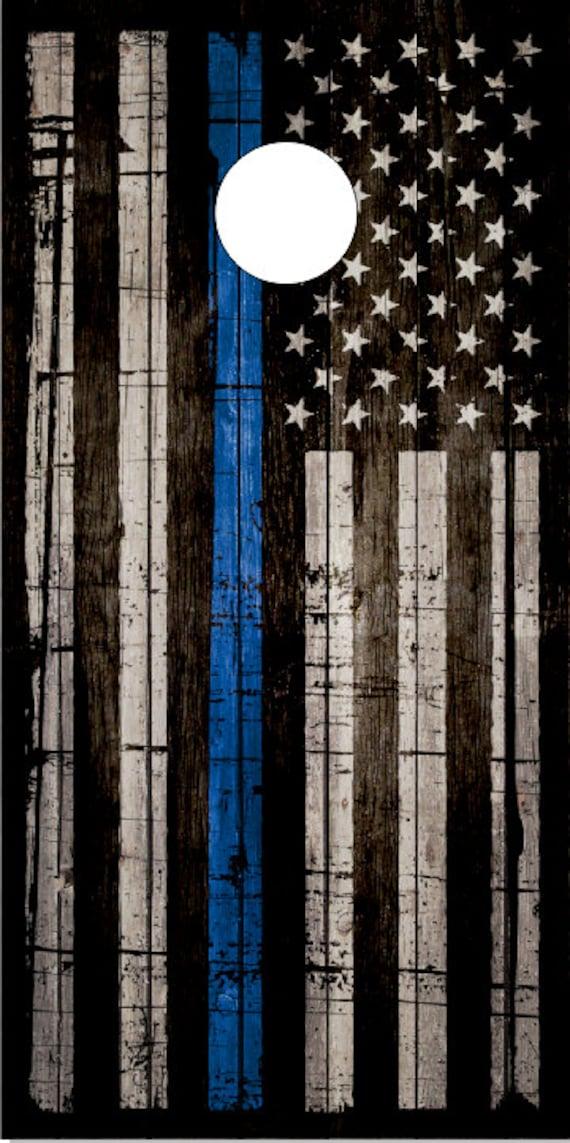 Police Thin Blue Line Flag Wood Cornhole Wrap Bag Toss