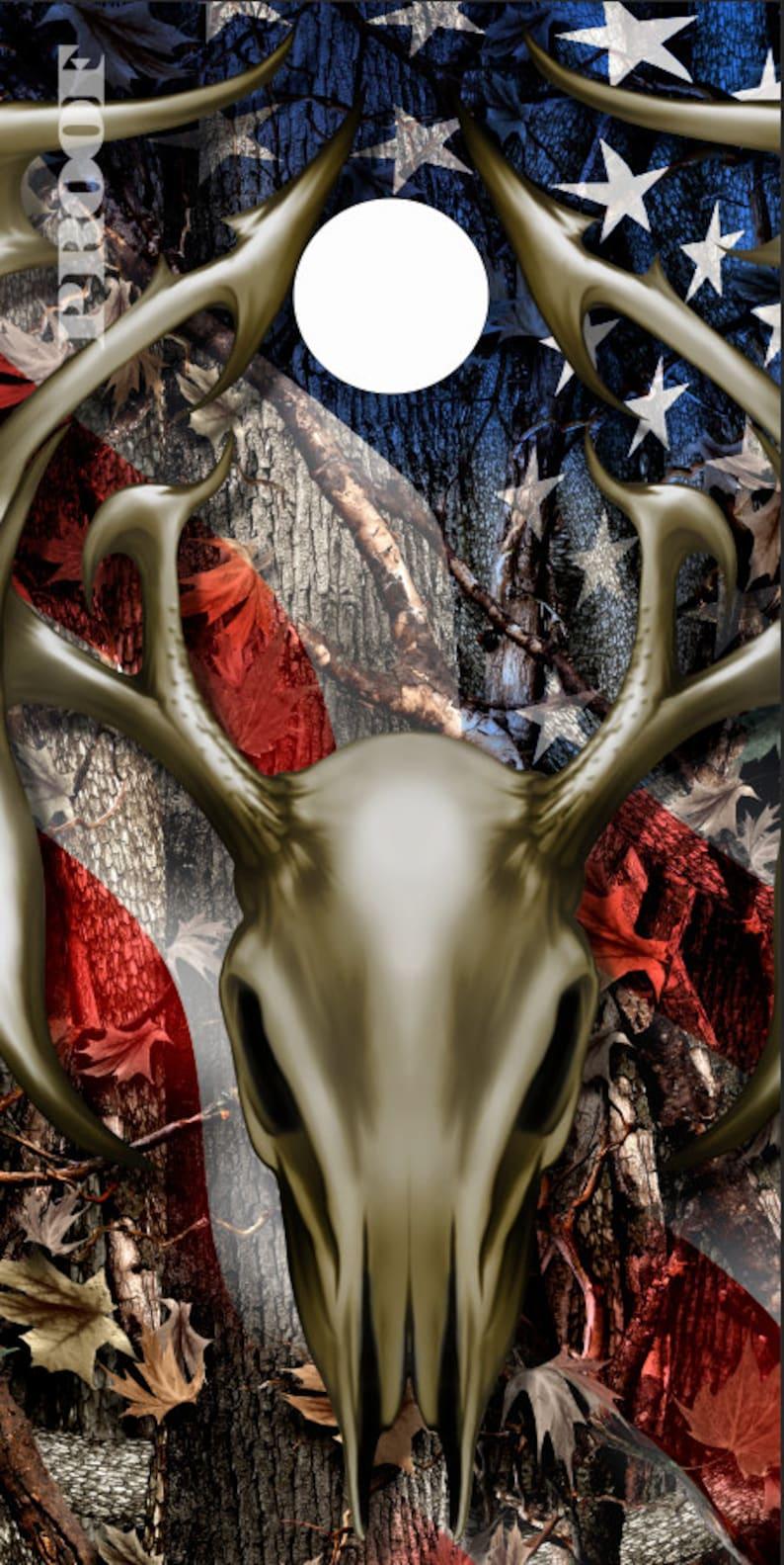 Tribal Buck Skull Flag Camo LAMINATED Cornhole Wrap Bag Toss Decal Baggo Skin Sticker Wraps