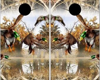 Duck Hunter Camo LAMINATED Cornhole Wrap Bag Toss Decal Baggo Skin Sticker Wraps