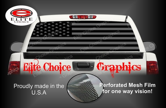 American Flag Black And Grey Rear Window Graphic Tint Decal