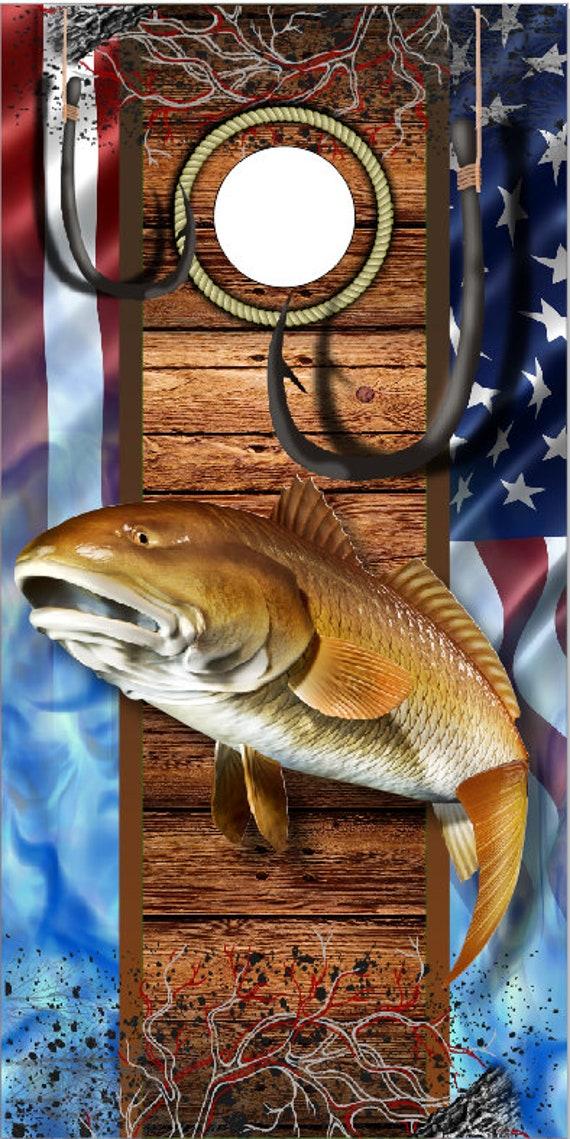 Ghost Red Fish Flag Wood LAMINATED Cornhole Wrap Bag Toss Decal Baggo Skin Sticker Wraps