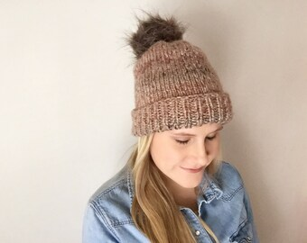 Cuffed Hat in Hampton Sunset with Faux Fur Pom Pom