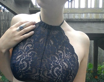 Handmade Strappy High-Neck Halter Bralette in Navy Floral Lace