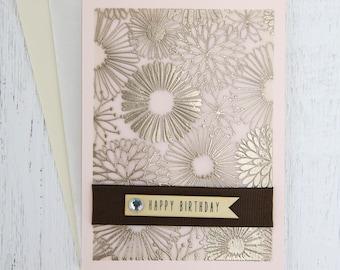 Brown & Peachy Birthday Card, Birthday Card, Handmade Card, Floral Card, Grandeur Pictures