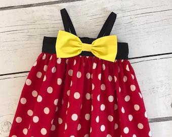 Minnie Mouse Dress, Minnie Dress, Baby Girls Dress, Little Girl Dress, Girls Clothing, Toddler Dress, Big Bow Dress