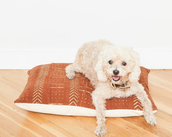 Rust Mudcloth Floor Pillow Dog Bed // Small