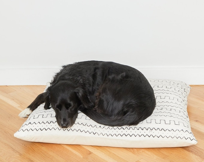 White Mudcloth Floor Pillow Dog Bed // Medium