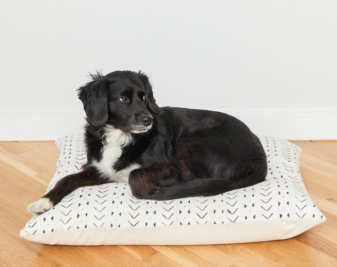 White Mudcloth Floor Pillow Dog Bed // Medium
