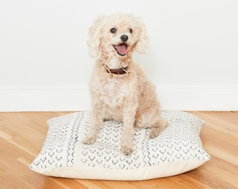 White Mudcloth Floor Pillow Dog Bed // Small