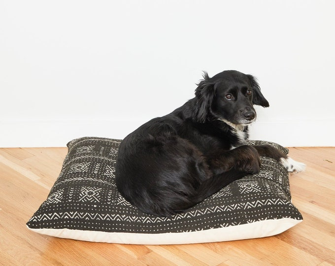 Black Mudcloth Floor Pillow Dog Bed // Small