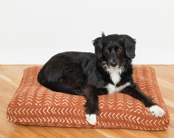 Rust Mudcloth Dog Bed // Medium