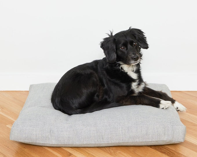 Linen Look Perennials Outdoor Fabric Dog Bed // Made To Order