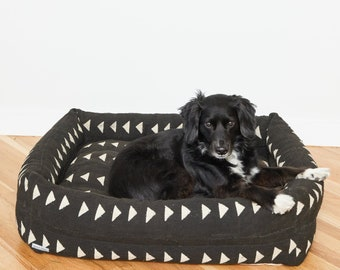 Black & White Mudcloth Nest Bed | Quick Ship | Small