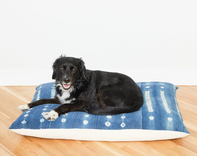 Indigo Shibori Floor Pillow Dog Bed // Large