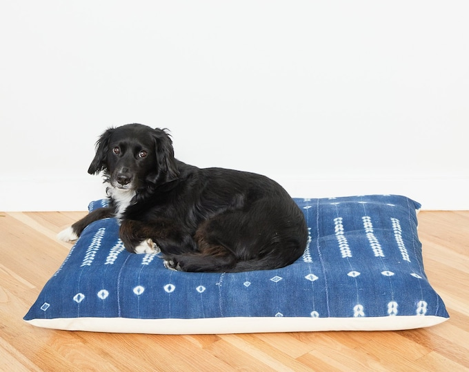 Indigo Shibori Floor Pillow Dog Bed // Large