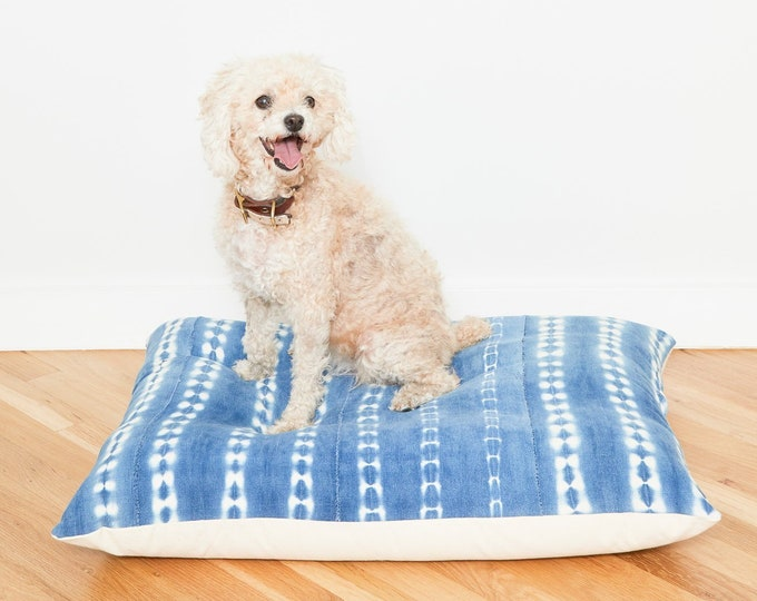 Indigo Shibori Floor Pillow Dog Bed // Medium